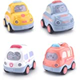 Beville Pull Back Cars for Toddler Boys & Girls,Set of 4 Pack Kids Early Educational Vehicles Includes Police Car, Fire…