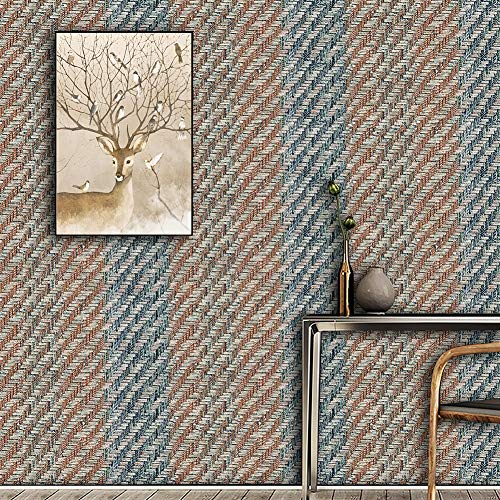 3501 Textured Woven Grass Wallpaper Rolls, Blue Purple/Milk White/Brown for Home Living Room Cafe Bar Wall Decoration 20.8