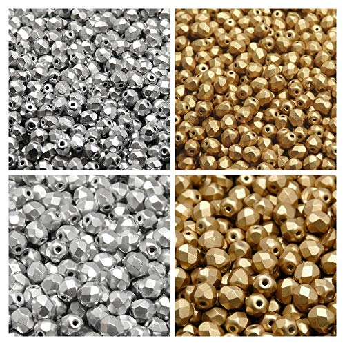 Czech Fire-Polished Glass Beads Round, 4mm, 6mm, Silver Matte, Aztec Gold. Total 300 pcs. Set 2CFP 033 (4FP069 4FP085 6FP029 6FP077)