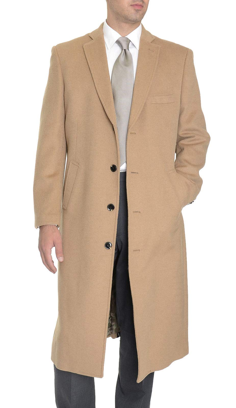 Men's Regular Fit Camel Tan Full Length Wool Cashmere Overcoat Topcoat by The Suit Depot