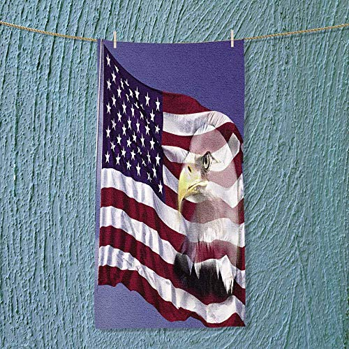 Bath Towel US Flag Waving in The Wind Against a Blue Sky with Bald Eagle mergedon it Bathroom Towels Size: W 27.5