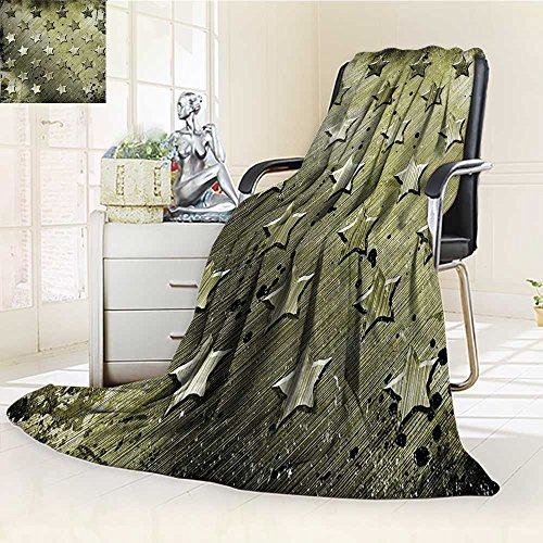 (YOYI-HOME Custom Design Cozy Flannel Duplex Printed Blanket with Carving Art Style Star Patterns Marine Army Theme Industrial Deco Olive Lightweight Blanket Extra Big /W59 x H39.5)