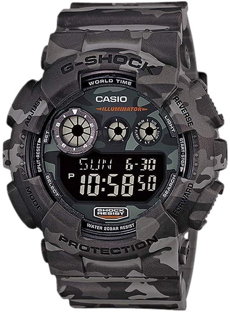 Casio Men s XL Series G-Shock Quartz 200M WR Shock Resistant Resin Color Grey Camo Model GD-120CM-8CR