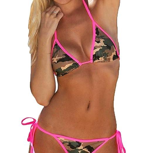 9778376e22af3 Camo & Hot Pink 2 Piece Women Bikini Swimwear Bathing Suit ~ Traje Trusa de  Baño