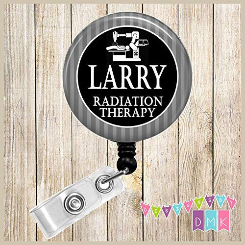 Personalized - Radiation Therapy - Grey Stripes - Button Badge Reel ()