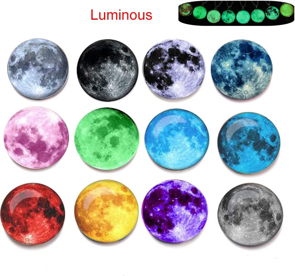 Mary Paxton Fridge Magnets Luminous,Pack Of 12 Glowing Refrigerator Magnets Glass Nebula Galaxy Universe Decorative Magnets Stickers Glow In The Dark Strong Office magnets Whiteboard Round Magnets