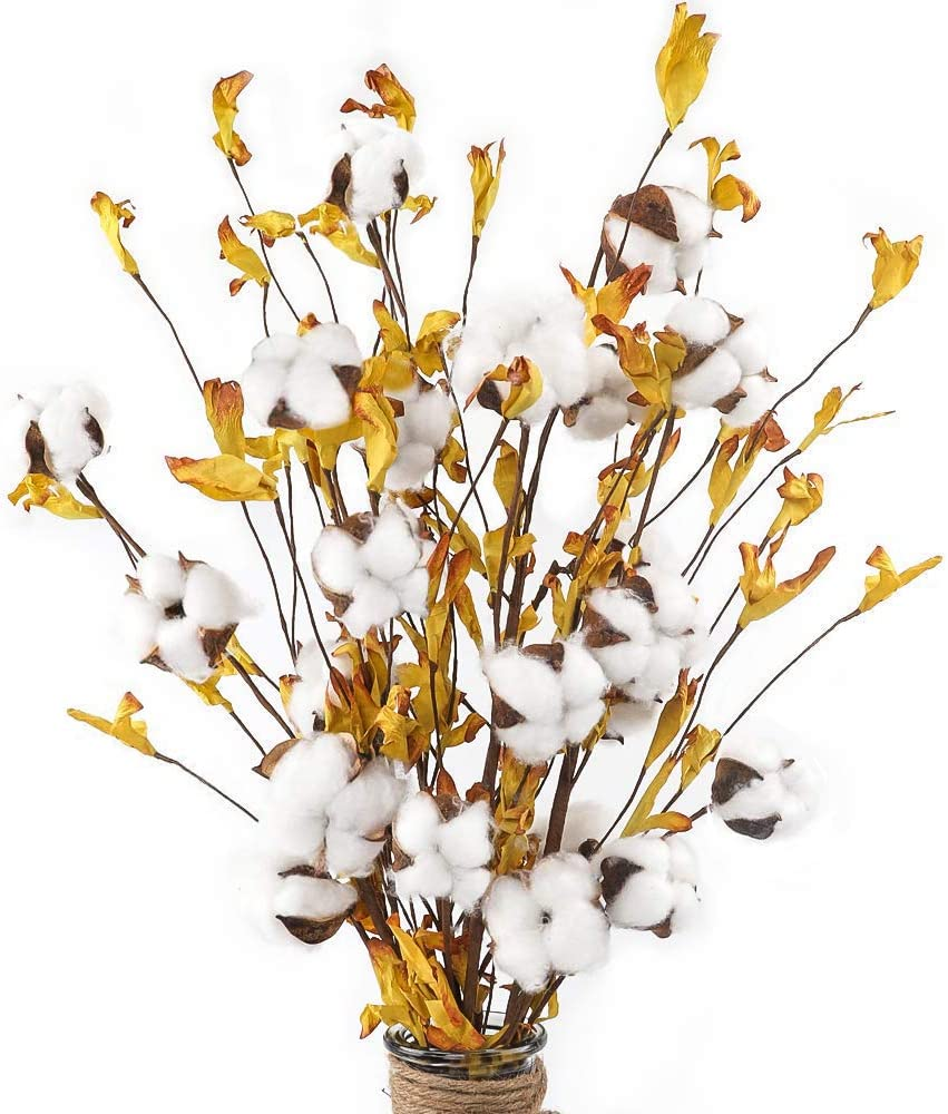 AGEOMET 5pcs 21 Inches Cotton Stems with 4 Cotton Flower Heads and Yellow Leaves for Fall Farmhouse Style Home Decoration