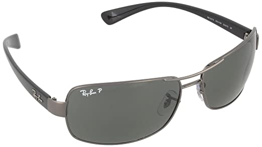 Ray-Ban Men's 0rb3379-01004/58 64rb3379 Polarized Rectangular Sunglasses, Gunmetal, 64 mm