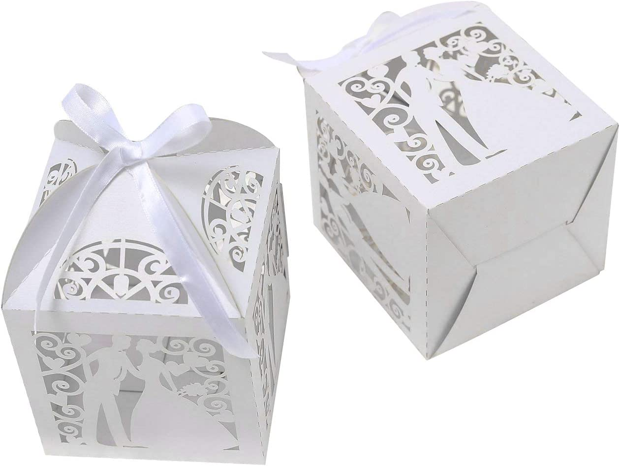 PONATIA 25Pcs/Lot 4''x4'' Laser Cut Pearl Paper Party Wedding Favor Ribbon Candy Boxes Large Size Gift Box for Cupcake (White Bride Groom)