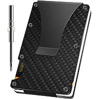 Minimalistisk plånbok kolfiber med RFID-blockeringssystem | (upp till 12 kort) smal korthållare plånbok för män…