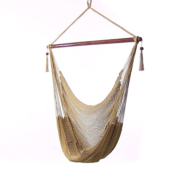 Sunnydaze Hanging Rope Hammock Chair Swing, Extra Large Caribbean, Tan – for Indoor or Outdoor Patio, Yard, Porch, and Bedroom