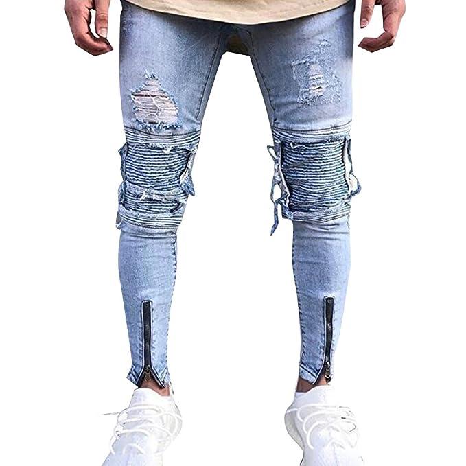 Uomo Jeans Strappati Ginocchia Strappati Jeans vm8O0Nnw
