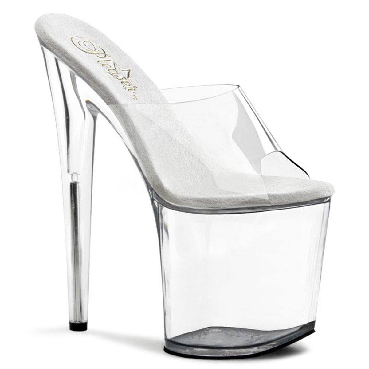 8 Inch Heel High Platform Sandal Shoe Slip On Sexy Stripper Shoes Open Toe B002XEWCP2 10 B(M) US Clear