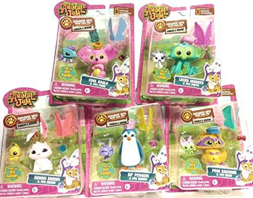 Animal Jam Bundle With Lucky Monkey, Cool Koala, Posh Raccoon,Sunny Bunny, Sir Penguin, And5 Online Game Codes