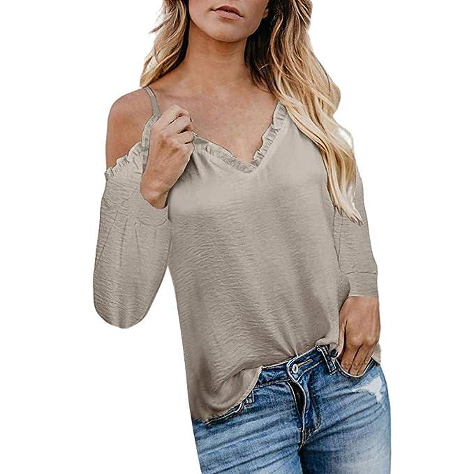 Damen V-Ausschnitt Strickshirt Langarm Schulterfrei Tunika Oberteile Sweater Top