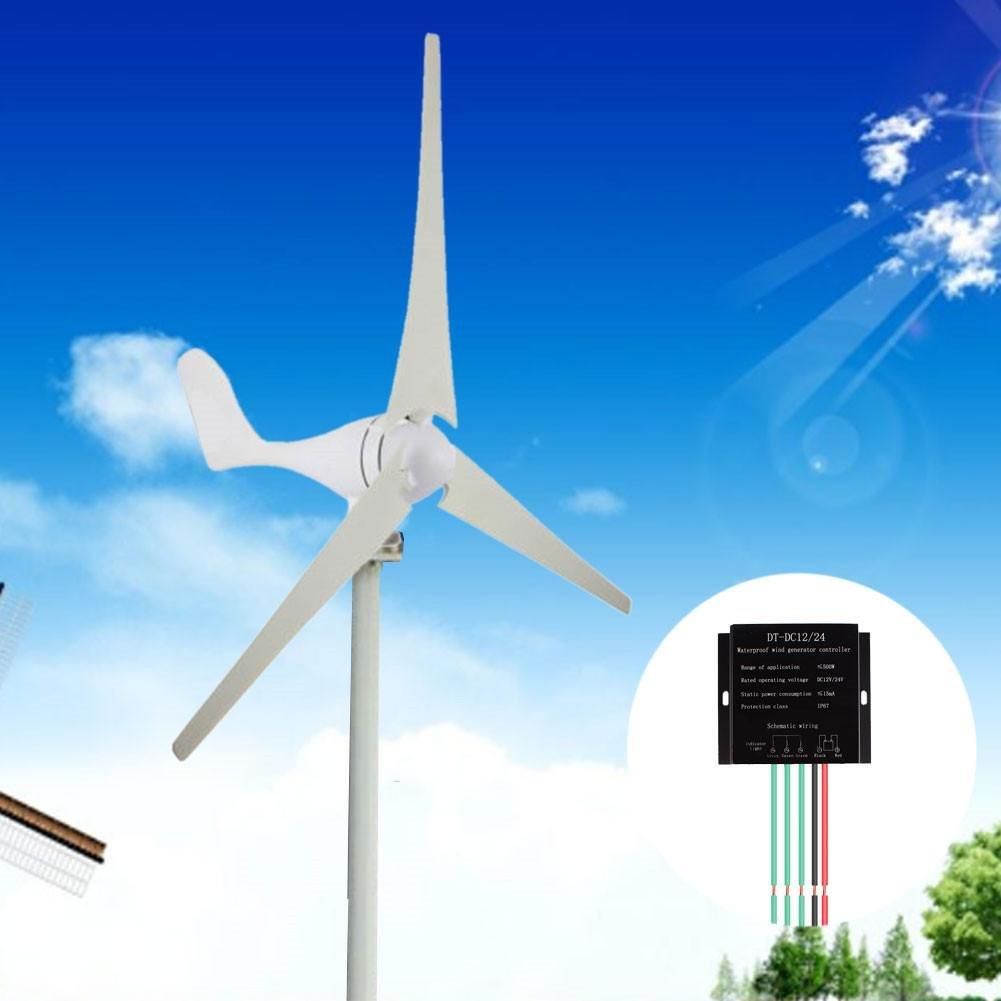 Zhuotop - Turbina de viento hí brida de 400 W, 12 V/24 V, 3/5 cuchillas con controlador de casa, negocios, suplemento de energí a industrial suplemento de energía industrial