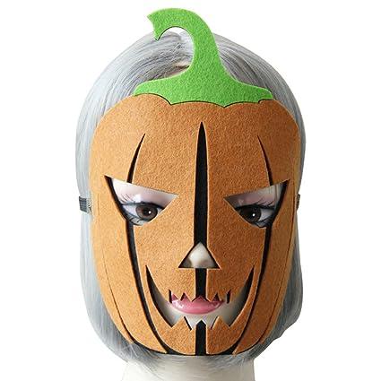 San Bodhi - Máscara de calabaza de Halloween con banda elástica para fiesta de máscaras