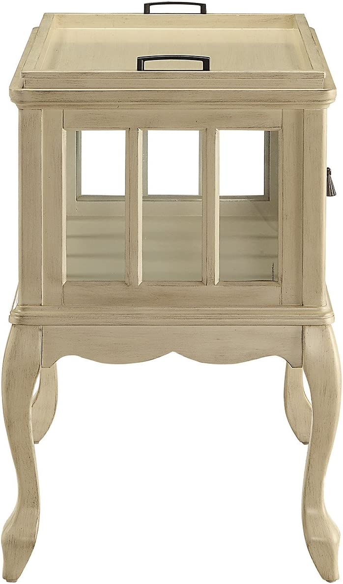 ACME Fidelia Antique White Console Table with Tray