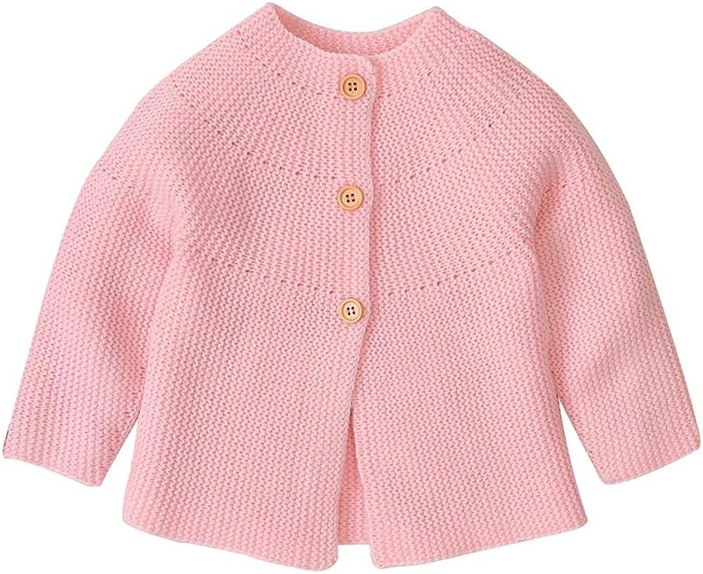Dilicwa Bambino A Maglia Cardigan Maniche Lunghe Pulsante su Cappotti Top Ragazze Maglia Maglione Rosa 0-18 Mesi