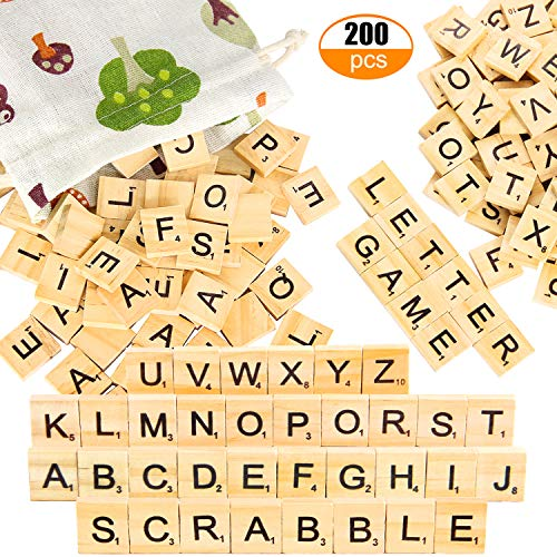 200pcs Wooden Letter Tiles for Scrabble Crossword Game - Pinowu Wood Scrabble Letters Replacement for DIY Craft Gift Decoration Scrapbooking and Making Alphabet Coaster