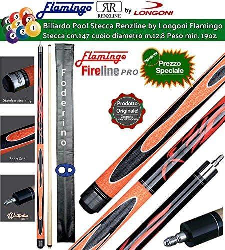 Renzi Line by Longoni Billar Pool Palos Profesionales Flamingo Fire, Taco Desmontable, L. cm.147. Punta de Madera, Piel m.12,8 con foderino a sobre 1 + 1.: Amazon.es: Deportes y aire libre
