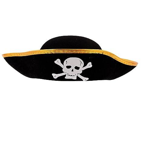 Cappello pirata - TOOGOO(R) Skull modello Cappello pirata Nero ... d5db50ce88fb