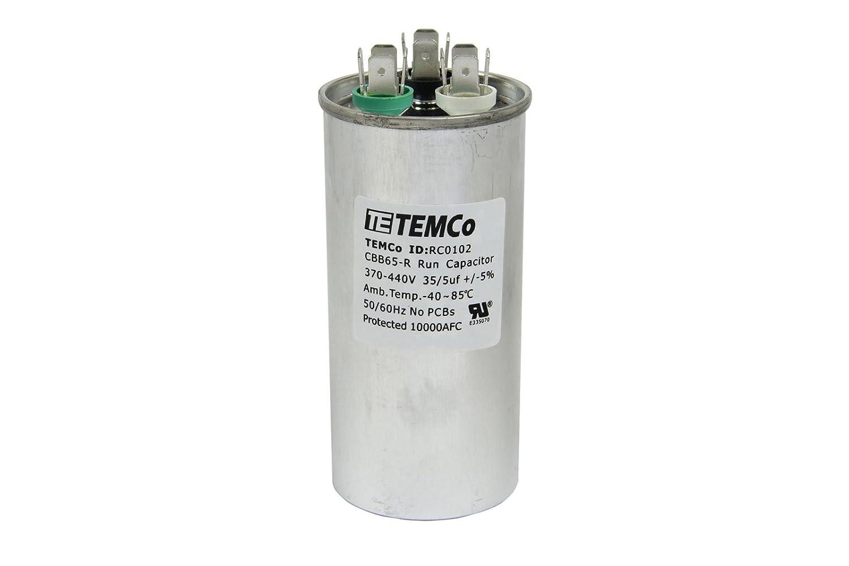 TEMCo Dual Run Capacitor RC0102-35/5 mfd 370 V 440 V VAC Volt 35+5 ... ac motor wiring diagram capacitor Amazon.com