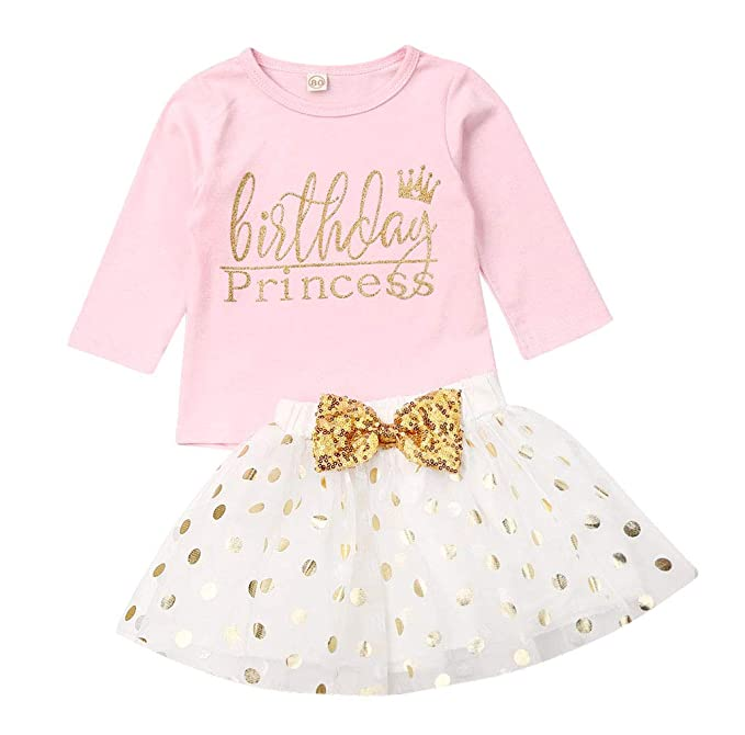 Skirt Sets Baby Girl Pink Polka Dot Skirt Outfits Hello Deer Letter T Shirt Tops Head Band Outfits Children Clothes Baby