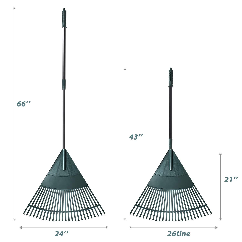 ORIENTOOLS Garden Leaf Rake Plastic Head,Poly Shrub Rake,26 Tines,43 to 66 inches Black Handle Adjustable Lightweight Steel Handle Comfortable Grip Handle