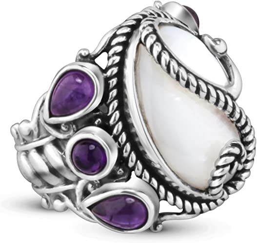CloseoutWarehouse Simulated Pearl with Rope Designer Ring Sterling Silver