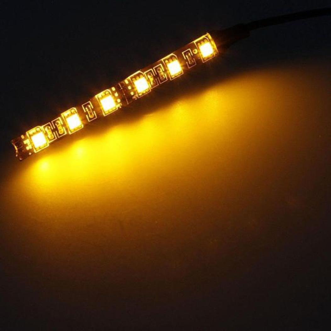 Chezaa LED Light Bulbs,6LED Mini Strip Black Led Motorcycle Turn Signal Universal Amber Lights Strip for Cars (Amber/Orange)