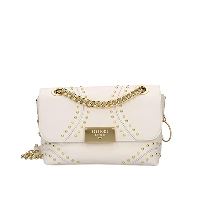 Donna Guess GUESS LUXE VICKY LEATHER CROSSBODY FLAP Ivory | Borse