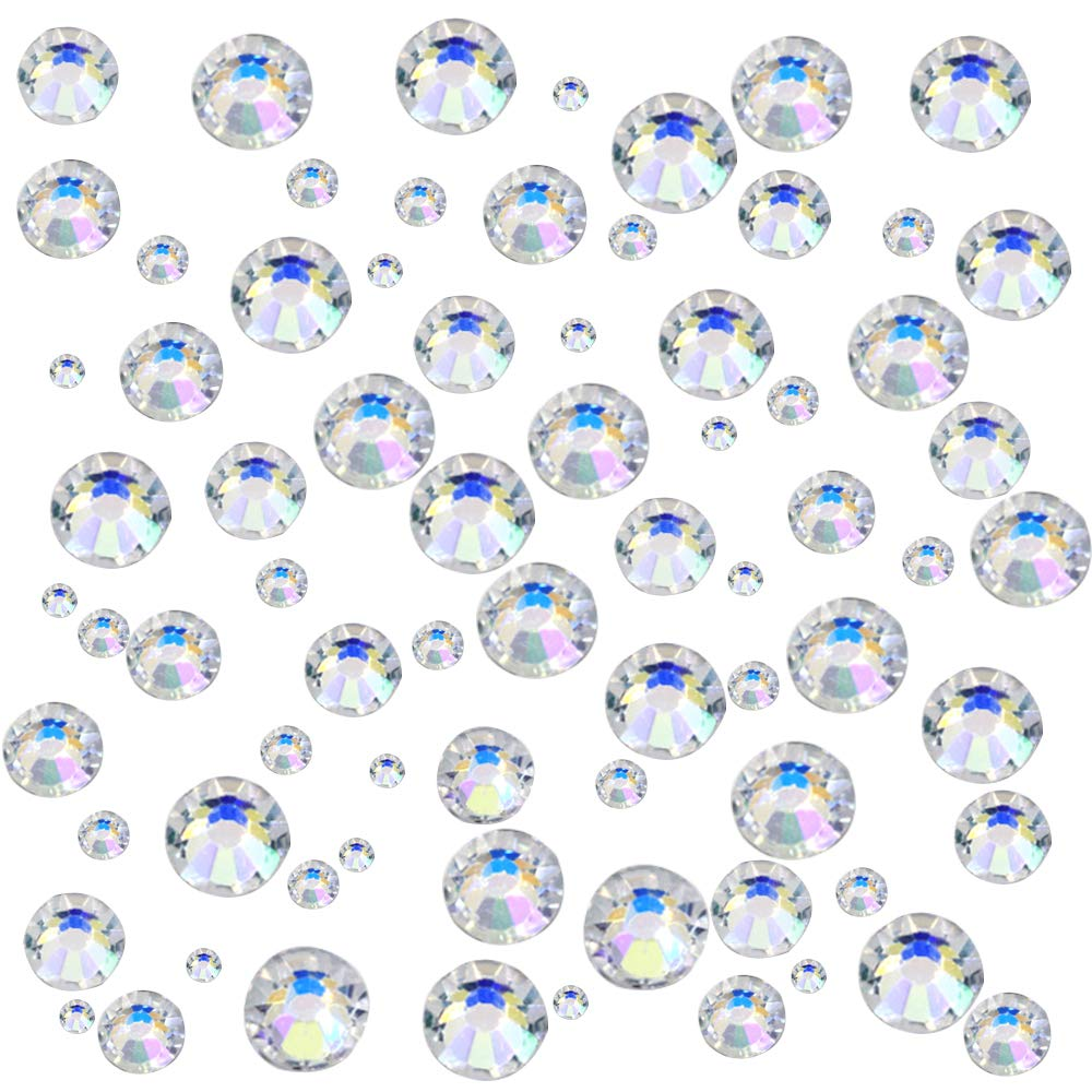 JPSOR 1000pcs Clear Colour Flat Back Rhinestones Round Crystal Gems 1.6mm,2mm,3mm,4mm,5mm, 5 Sizes