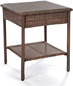 W Unlimited Galleon Collection Outdoor Furniture End Table Patio Furniture Conversation Set Dark Brown Rattan Wicker