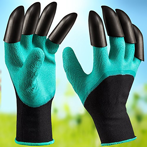 Cheap Garden Genie Gloves with Claw Fingers, Gardening Laborer Gloves for Men Women, Quick Digging Planting Composting, Claws on Right and Left Hand, 1 Pair (Green)