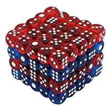 100pcs 16mm 6-Sided Game Dice - Qntry 2 Different Translucent Colors for Board Games Activity Party Favors Toy Gifts or Teaching Math