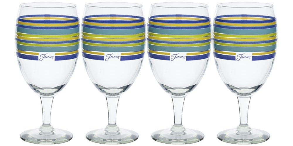 Fiesta Lapis Stripe 15-Ounce All Purpose Goblet Glass (Set of 4)