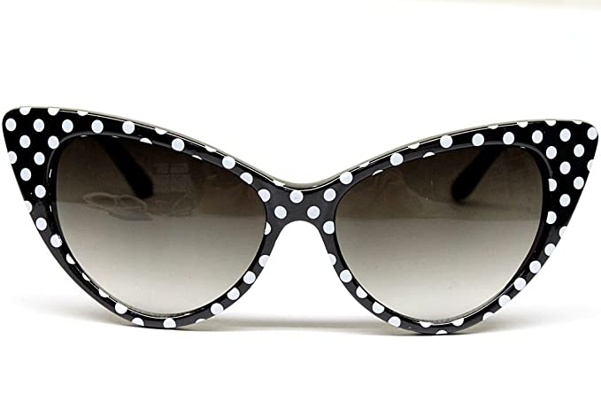 484b681a0fe Image Unavailable. Image not available for. Color  Cat Eye Vintage Retro Polka  Dots Sunglasses Womens Wm501 (black   white ...