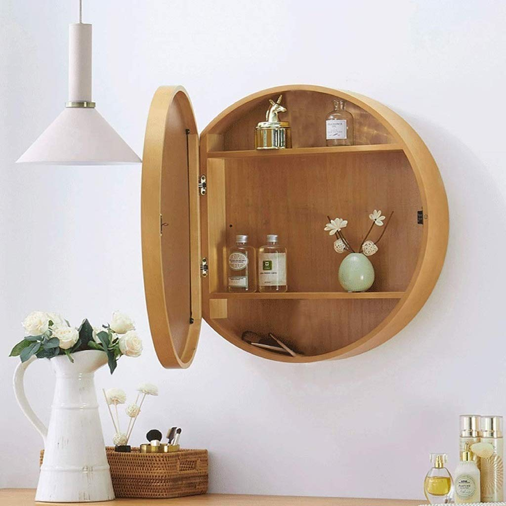 SDK Round Bathroom Mirror Cabinet, Bathroom Wall Storage Cabinet Mirror Medicine Cabinet with Slow-Close Wooden Frame 3 Level (Color : Wood Color, Size : 50CM) by SDK