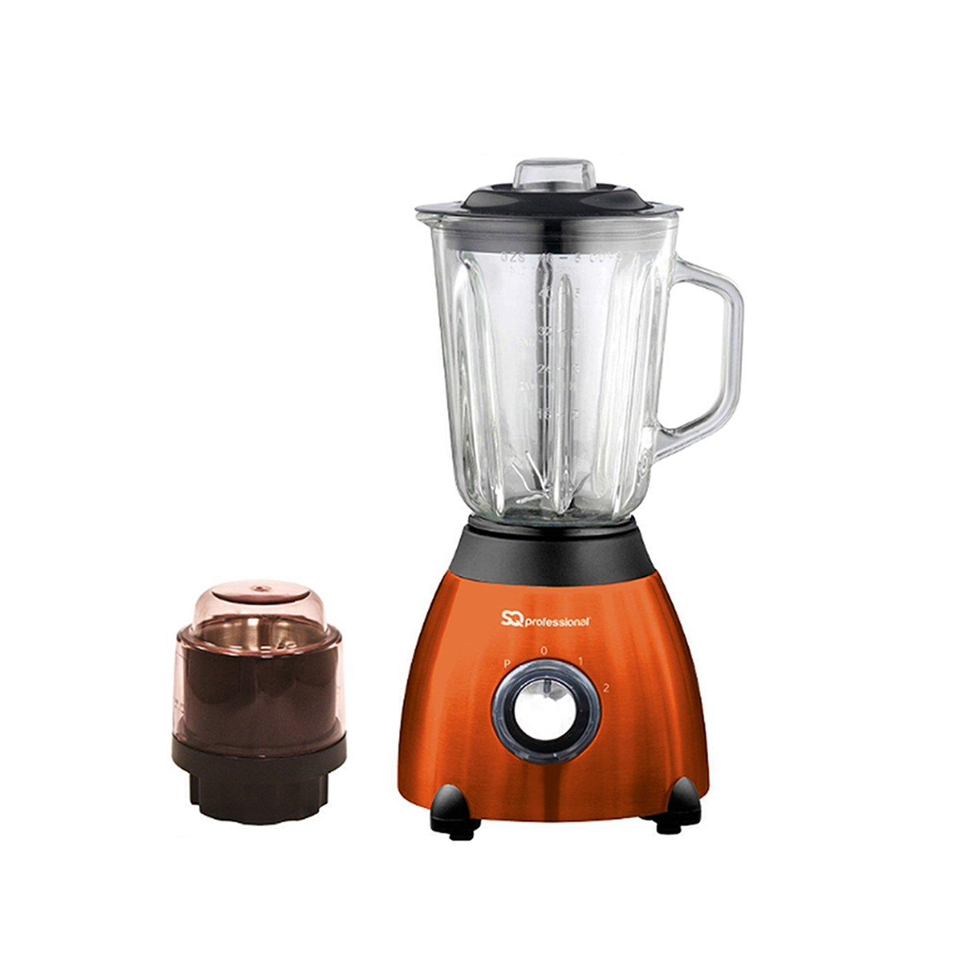 SQPro 500W Blender con 1,5 litri di vetro Misurini e Grinder per ingredienti secchi viola, rosso, nero o argento (ambra arancione) SQ Professional