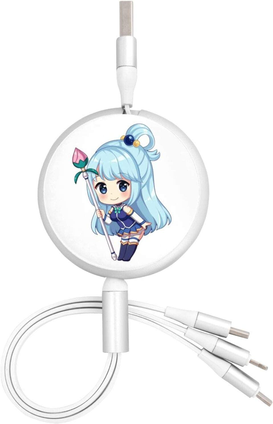 Anime Konosuba Chibi Aqua 3 in 1 Retractable Multiple Charging Cable 3.0a Fast Charger Cord with Phone//Type C//Micro USB Charge Port Adapter Compatible with Cell Phones Tablets and More