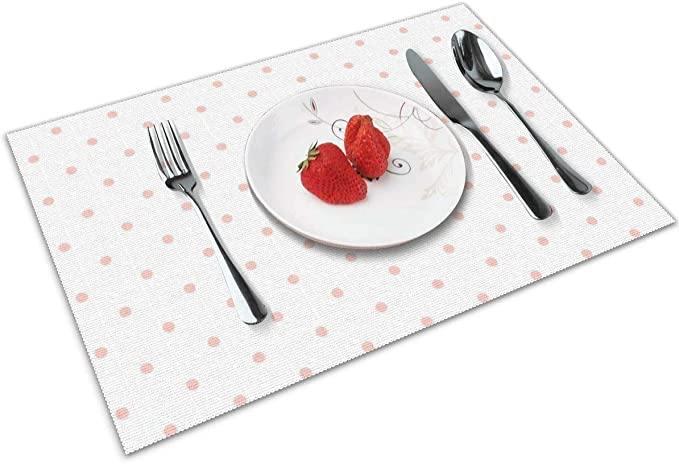 Brecoy Manteles Individuales de Color Rosa con Lunares sobre Fondo Blanco, protección para encimera, Mesa de Comedor de Cocina, Resistente al Calor: Amazon.es: Hogar