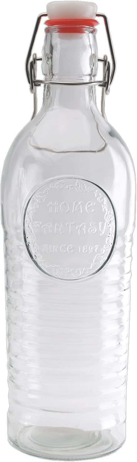 Circleware Spiral Hill Glass Beer Milk Water Bottle Carafe with Locking Swing Top Easy Wire Cap Stopper, Kitchen Dispenser Glassware for Oil, Vinegar and Beverage Drinking, 38 oz, Clear