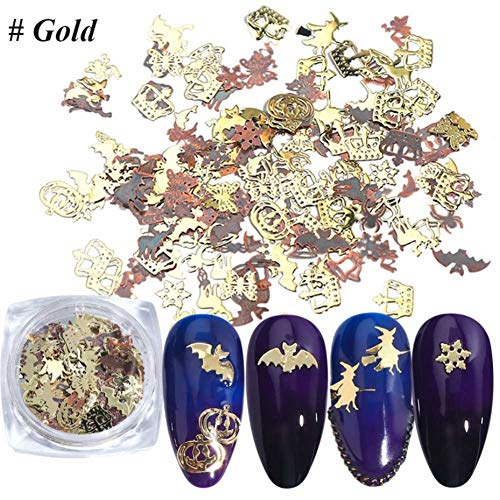 Metal Hollow Nail Patch Halloween Gold Thin Patch Nail ()