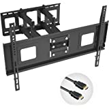 """Fleximounts TV Wall Mount Bracket for 32-65 inch TV, Full Motion Articulating Arms with Tilting Swivel, Max VESA 600x400mm and 132 lbs(match some 70"""" TV), with 10 ft HDMI Cable"""