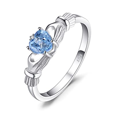 Jewelrypalace Women 0.6ct Heart Genuine Natural Aquamarine Claddagh 925 Sterling Silver Ring 2 Stone O2iEpmQfB