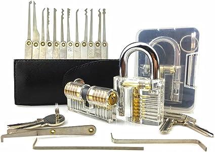 Lock Pick Kit Crochetage Ensemble De Serrure De 15 Pieces Avec 2 Serrures D Entrainement Serrure A Clef Pour Cle Cadenas D Exercice Transparent Serrure A Double Cylindre En Laiton Pour Serrurerie