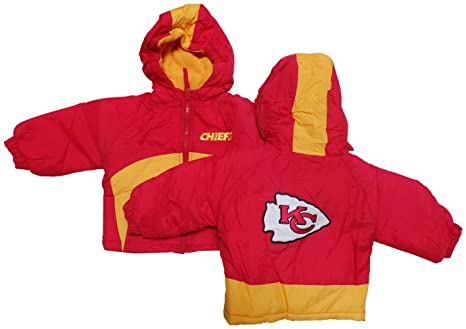 d7b01e4d NFL Kansas City Chiefs Infants/Baby and Kids with Yellow Stripped Hood  Jacket
