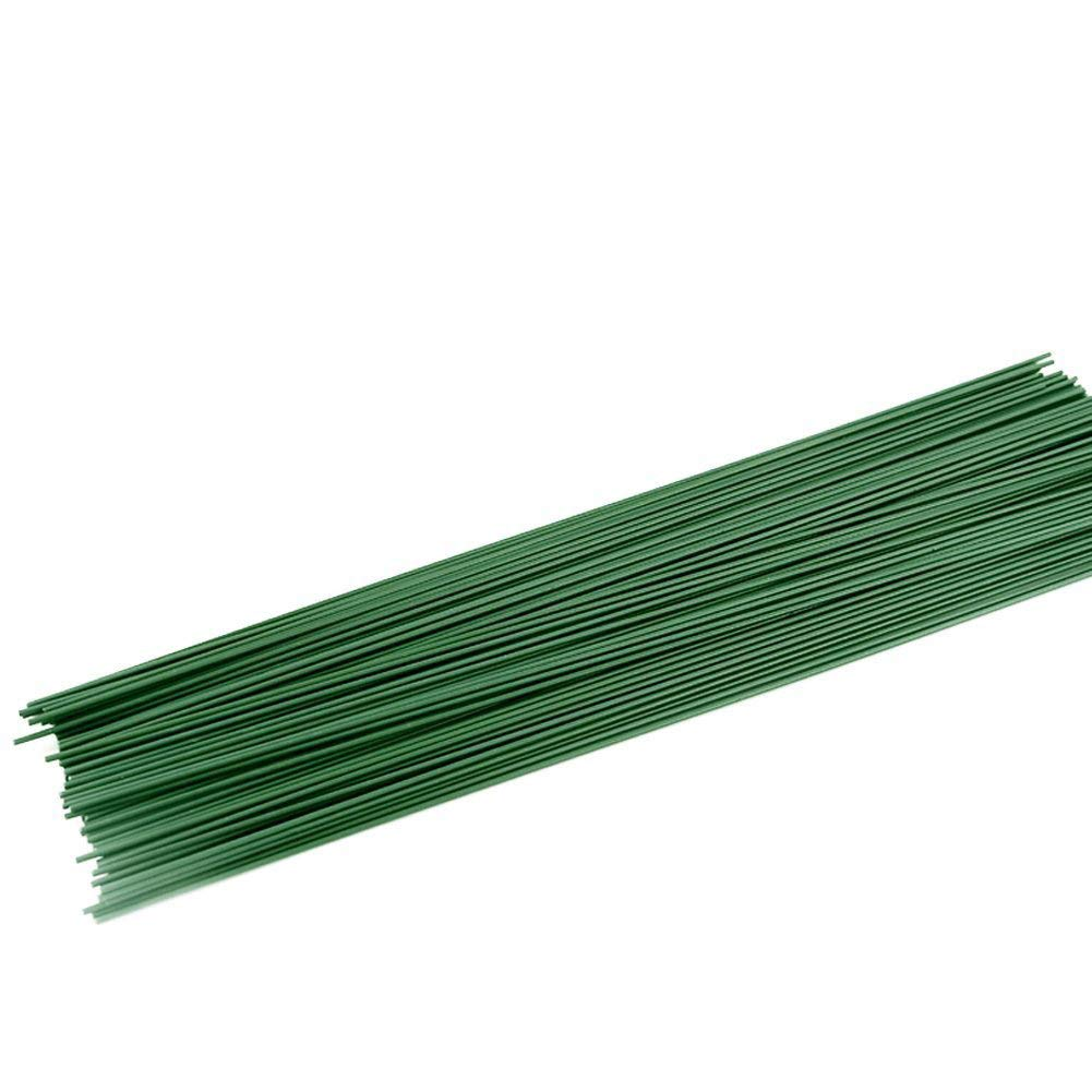 Conjugal Bliss 100PCS Floral Stem Wire Florist Stem Paddle Floral Wire Flower Paper Wrapped Wire for Flowers Packaging Flower Shop Decoration Iron Wire (0.02 inches, Green) ZS038