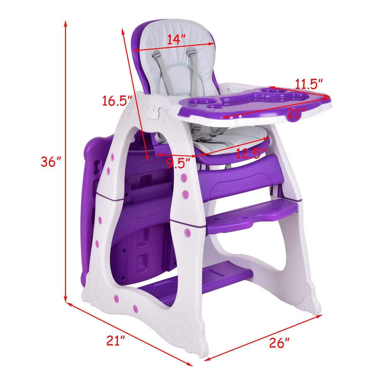 3 in 1 Baby High Chair Convertible Play Table Seat Booster Toddler Feeding Tray 3 Positions Available, Reclining, Adjustable seat. Hatchback Highball Suitable Age from 6 Months to 4 Years